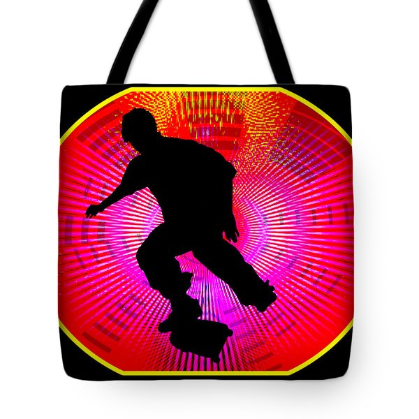 Skateboarding On Fluorescent Starburst Tote Bag by Elaine Plesser