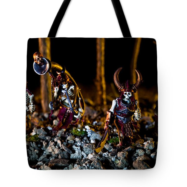 Skeletons Patrolling The Cursed Forest Tote Bag by Marc Garrido