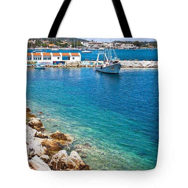 Skiathos Harbour Tote Bag by Tom Gowanlock