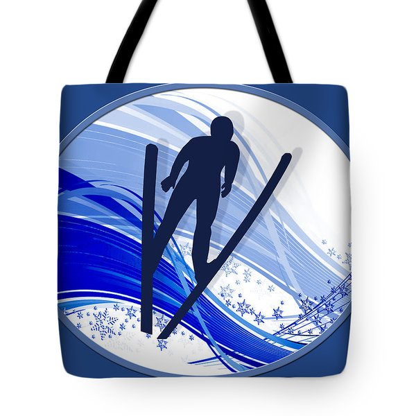 Skiing And Snowflakes Tote Bag by Elaine Plesser