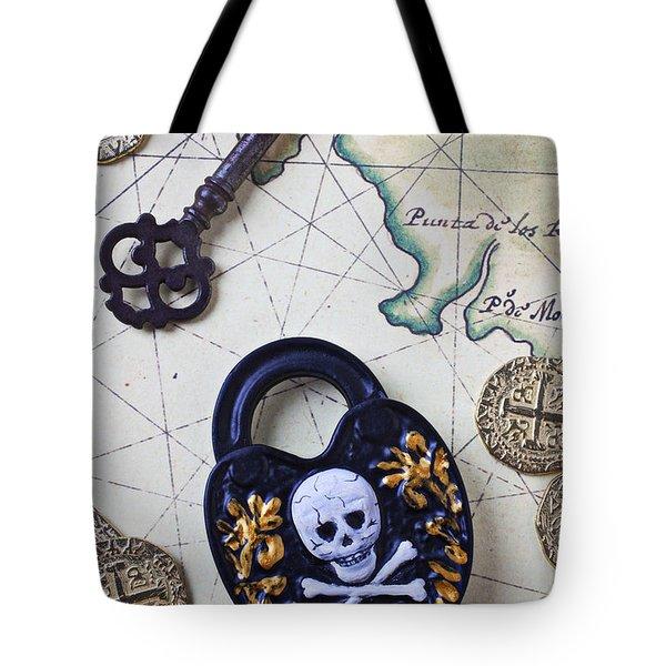 Skull and cross bones lock Tote Bag by Garry Gay