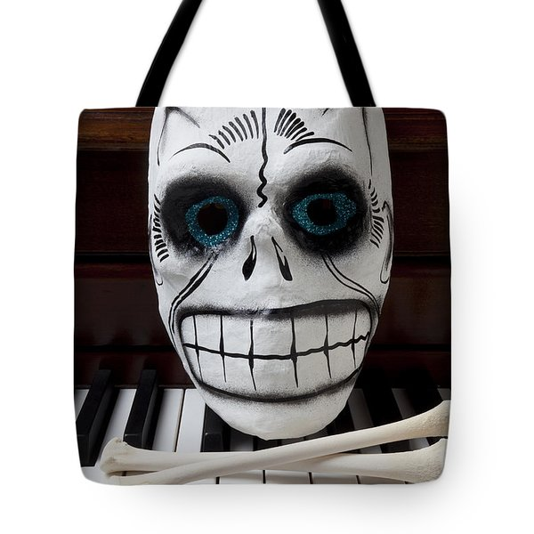 Skull Mask With Bones Tote Bag by Garry Gay
