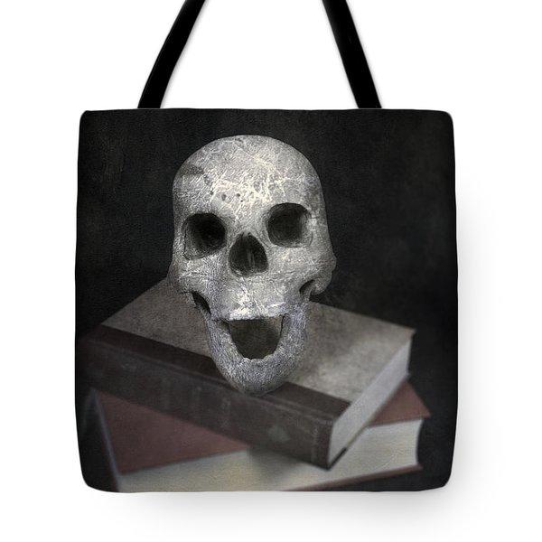 Skull On Books Tote Bag by Joana Kruse