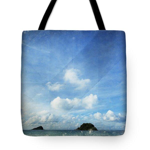 Sky And Cloud On Old Paper Tote Bag by Setsiri Silapasuwanchai