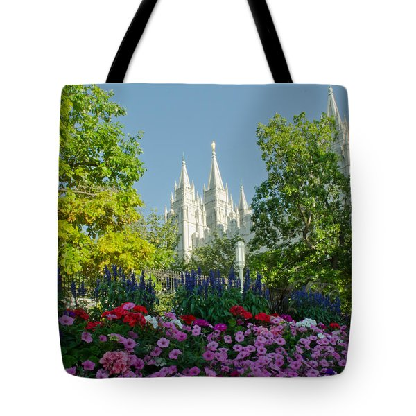 Slc Temple Flowers Tote Bag by La Rae  Roberts