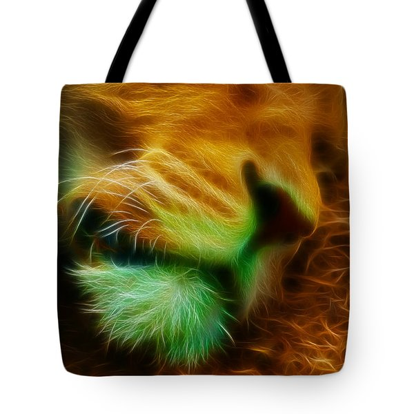 Sleeping Lion 2 Tote Bag by Chris Thaxter