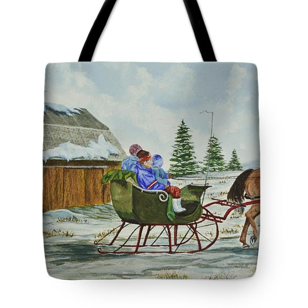 Sleigh Ride Tote Bag by Charlotte Blanchard