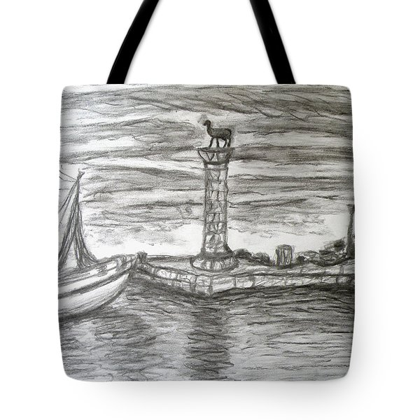 Small Boats At Rhodes Port Tote Bag by Augusta Stylianou