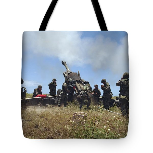 Smoke Fills The Air As Marines Fire Tote Bag by Stocktrek Images