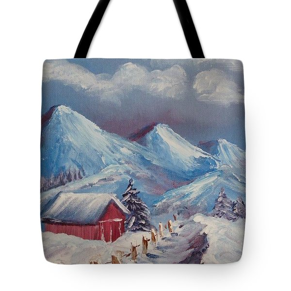 Snow Path Tote Bag by Peggy King