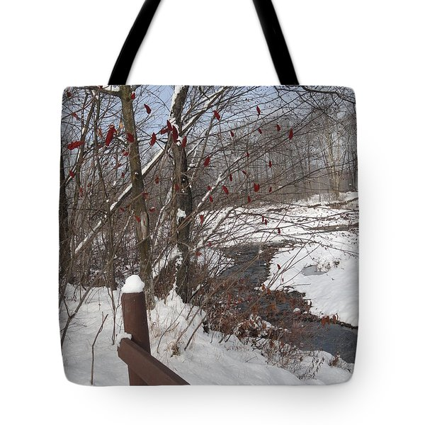 Snow Stream Tote Bag by Meandering Photography