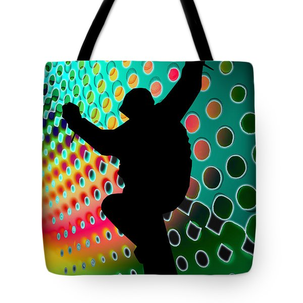 Snowboard in Cosmic Snowstorm Tote Bag by Elaine Plesser