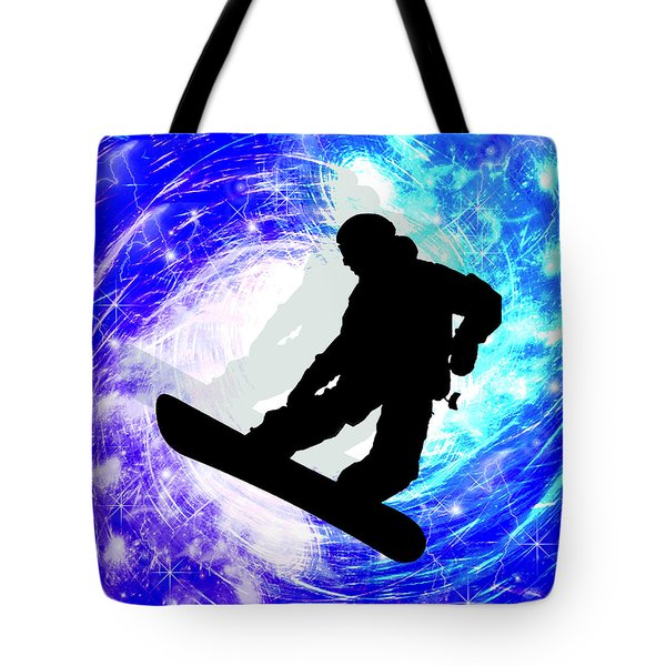 Snowboarder In Whiteout Tote Bag by Elaine Plesser