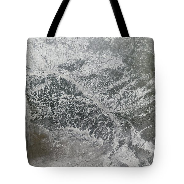 Snowy And Hazy Central Russia Showing Tote Bag by Stocktrek Images