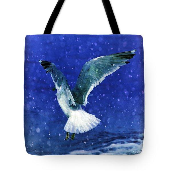 Snowy Seagull Tote Bag by Debra  Miller