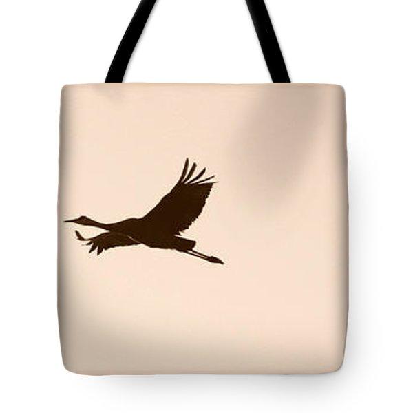 Soaring Sandhills Silhouette Tote Bag by Carol Groenen