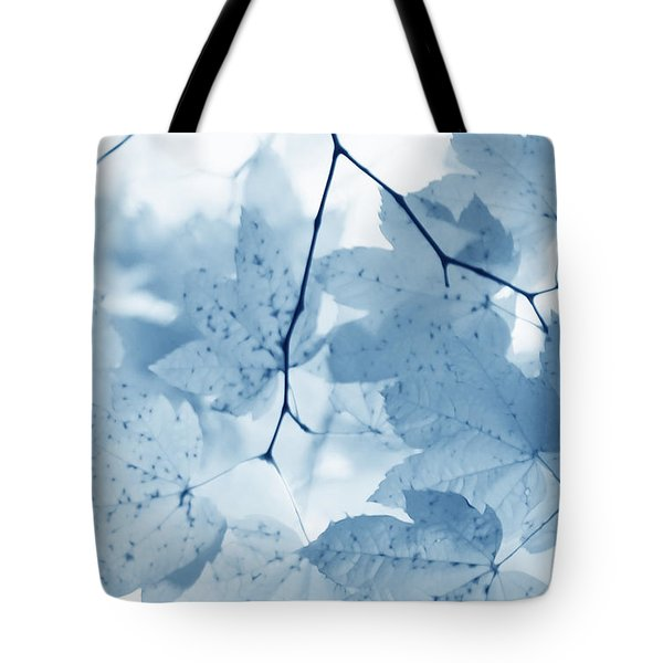 Softness of Blue Leaves Tote Bag by Jennie Marie Schell