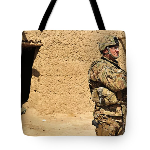 Soldier Stands Guard During A Routine Tote Bag by Stocktrek Images