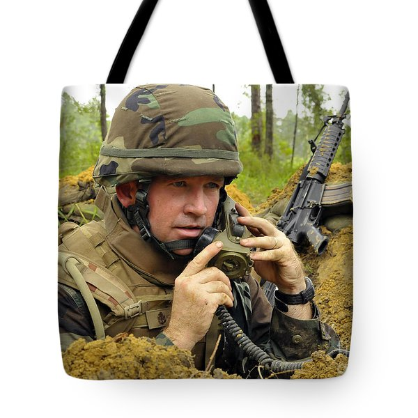 Soldier Using A Ta-1 Sound Powered Tote Bag by Stocktrek Images