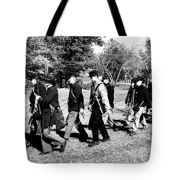 Soldiers March Black and White II Tote Bag by LeeAnn McLaneGoetz McLaneGoetzStudioLLCcom