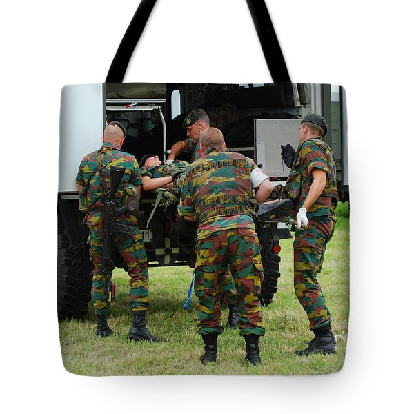 Soldiers Of A Belgian Infantry Unit Tote Bag by Luc De Jaeger