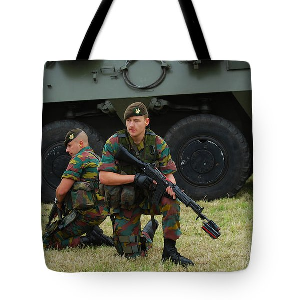 Soldiers Of An Infantry Unit Tote Bag by Luc De Jaeger