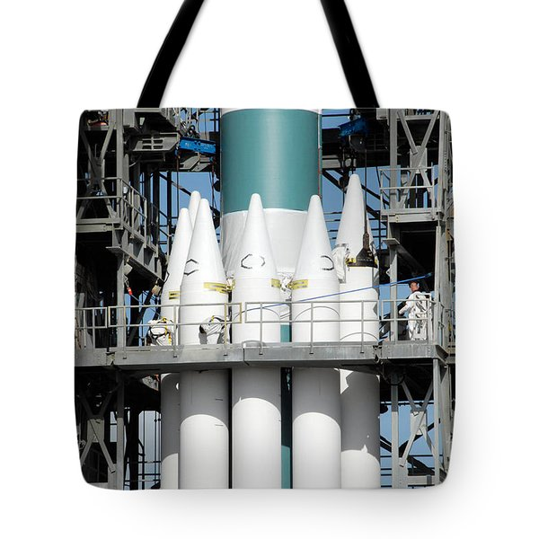 Solid Rocket Boosters Are Attached Tote Bag by Stocktrek Images