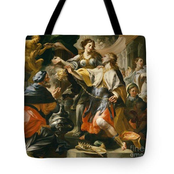 Solomon Worshiping The Pagan Gods Tote Bag by Domenico Antonio Vaccaro