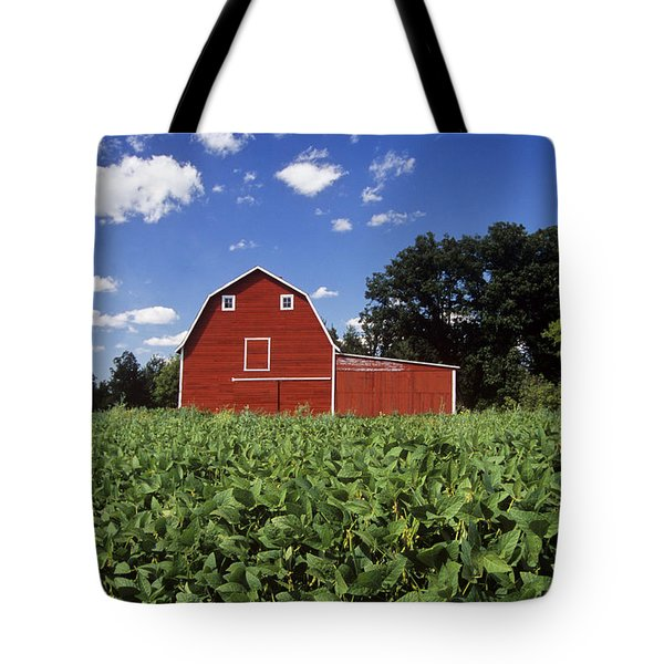 Soybean Field And Red Barn Near Anola Tote Bag by Dave Reede