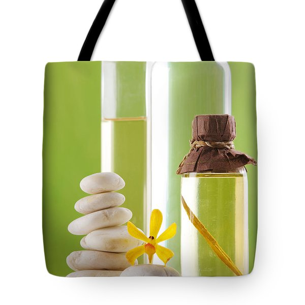 Spa Oil Bottles Tote Bag by Atiketta Sangasaeng