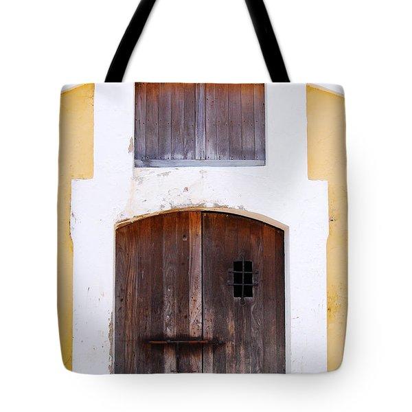 Spanish Fort Door Castillo San Felipe Del Morro San Juan Puerto Rico Prints Tote Bag by Shawn O'Brien