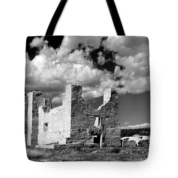 Spanish Mission Ruins Of Quarai Nm Tote Bag by Christine Till