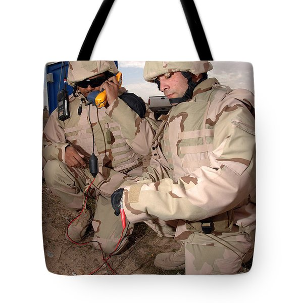 Specialists Testing Cutfield Wires Tote Bag by Stocktrek Images