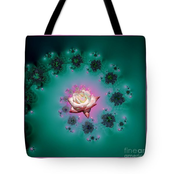 Spiral To A Rose Fractal 140 Tote Bag by Rose Santuci-Sofranko