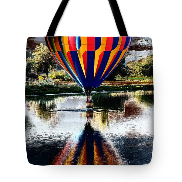 Splash And Dash With A Hot Air Balloon Tote Bag by David Patterson