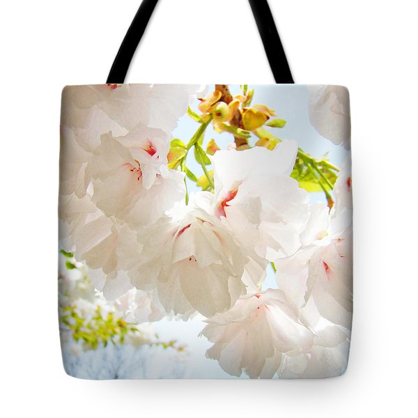 Spring White Pink Tree Flower Blossoms Tote Bag by Baslee Troutman