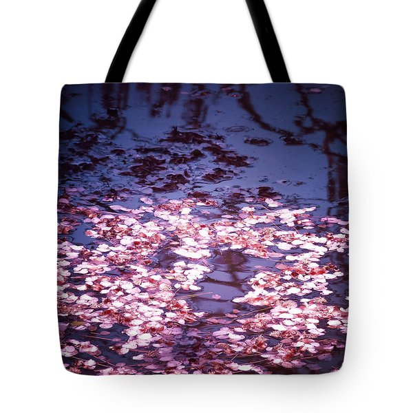 Spring's Embers - Cherry Blossom Petals on the Surface of a Pond Tote Bag by Vivienne Gucwa