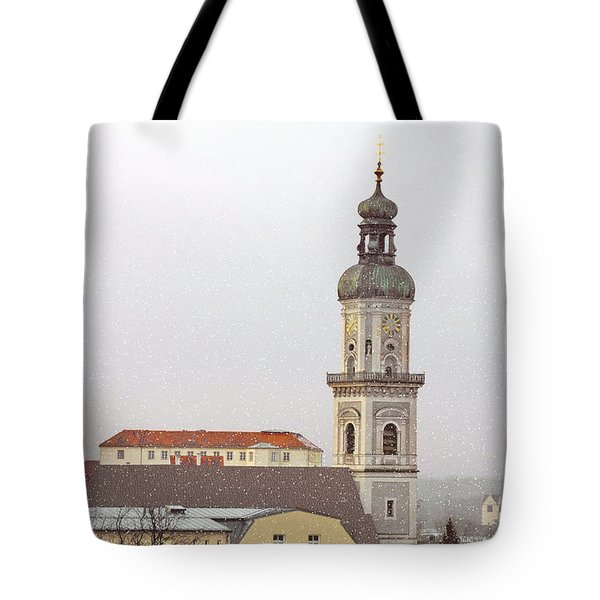 St. George in Snow - Freising Bavaria Germany Tote Bag by Christine Till