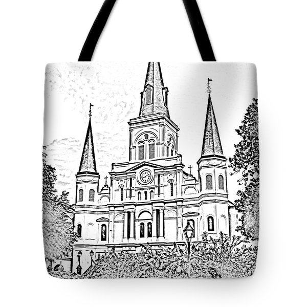 St Louis Cathedral Jackson Square French Quarter New Orleans Photocopy Digital Tote Bag by Shawn O'Brien