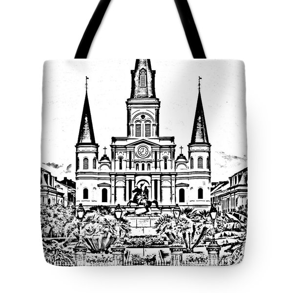 St Louis Cathedral On Jackson Square In The French Quarter New Orleans Photocopy Digital Art Tote Bag by Shawn O'Brien