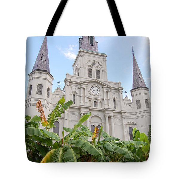 St Louis Cathedral Rising Above Palms Jackson Square French Quarter New Orleans Print  Tote Bag by Shawn O'Brien