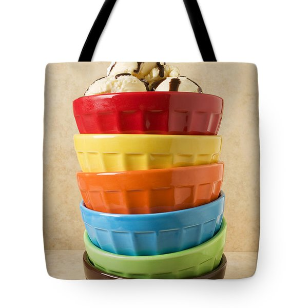 Stack Of Colored Bowls With Ice Cream On Top Tote Bag by Garry Gay
