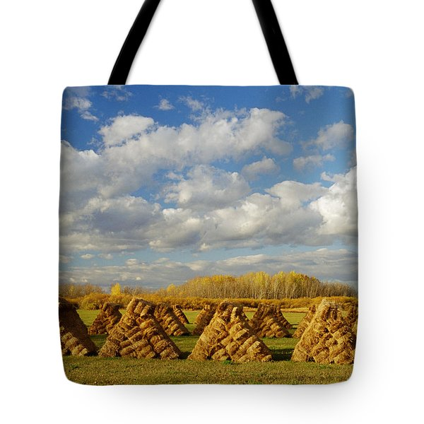 Stacked Hay Bales In Field, Selkirk Tote Bag by Dave Reede