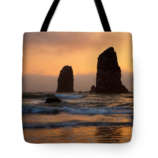 Stacks Of Gold Tote Bag by Mike  Dawson