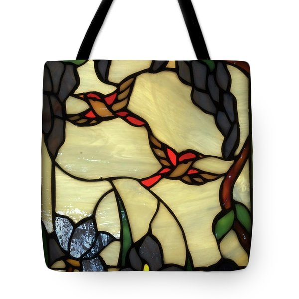 Stained Glass Humming Bird Vertical Window Tote Bag by Thomas Woolworth
