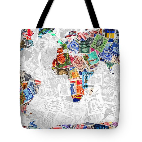 Stamps Of The World Map . V2 Tote Bag by Wingsdomain Art and Photography