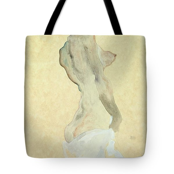 Standing Female Nude Tote Bag by Egon Schiele