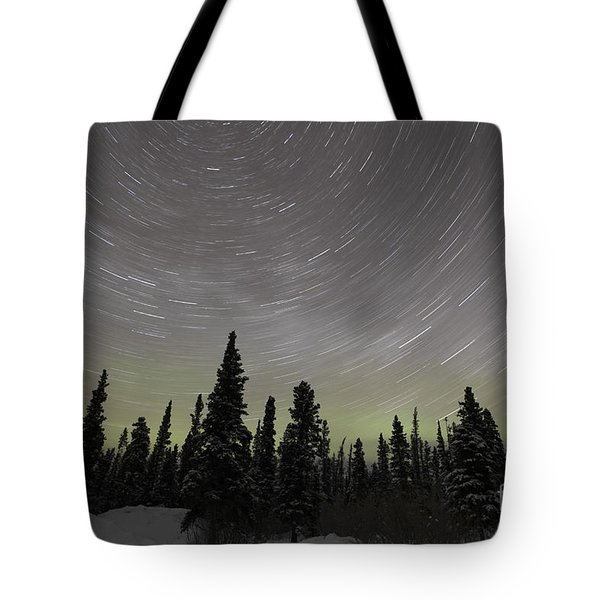 Star Trails, Milky Way And Green Aurora Tote Bag by Yuichi Takasaka