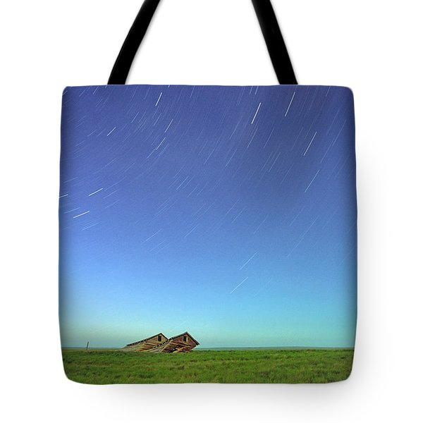 Star Trails Over Old Barns, Saskatchewan Tote Bag by Robert Postma