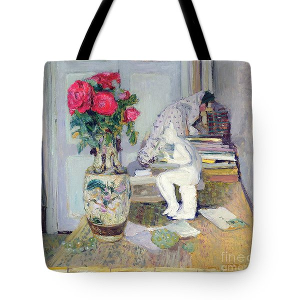 Statuette By Maillol And Red Roses Tote Bag by Edouard Vuillard